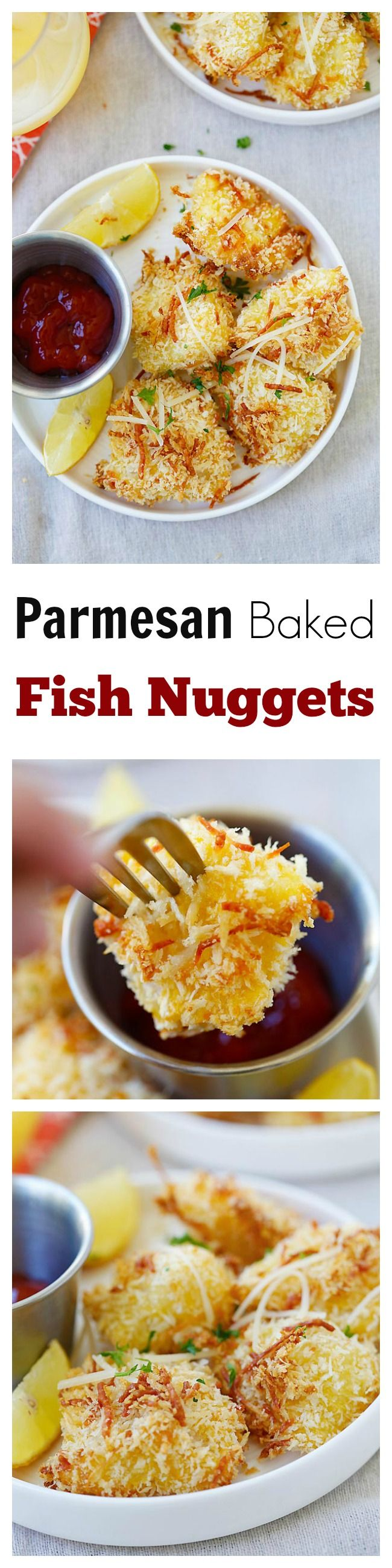 Parmesan Baked Fish Nuggets - crispy fish nuggets with cod fish and no frying. SO easy and delicious, perfect for kids and the entire family!! | rasamalaysia.com
