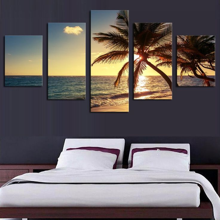 5 Piece Palm Tree And Ocean Sunset Canvas Art NO FRAME