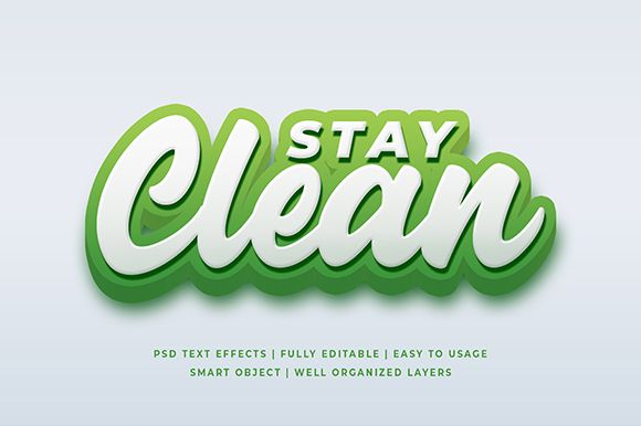 Stay Clean 3d Text Effect Mockup Graphic By Syifa5610 Creative Fabrica 3d Text Effect Text Effects 3d Text