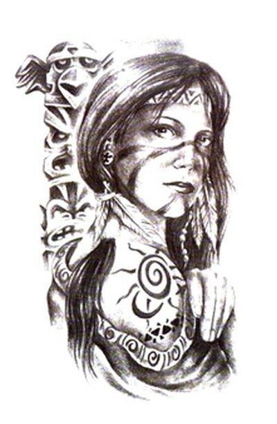 Native American Indian Women Tattoos Drawings Tats Pinterest