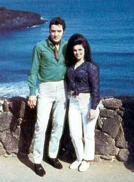 Elvis and Priscilla at the Hanauma Bay lookout point Hawaii 1968