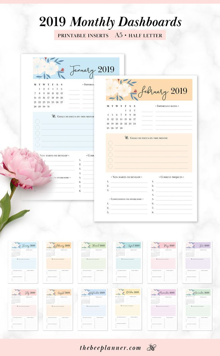 Beautifully Designed 2019 Monthly Dashboard Inserts For Filofax And Other A5 Planners Weeks Starts Planner Printables Free A5 Planner Printables Planner Pages