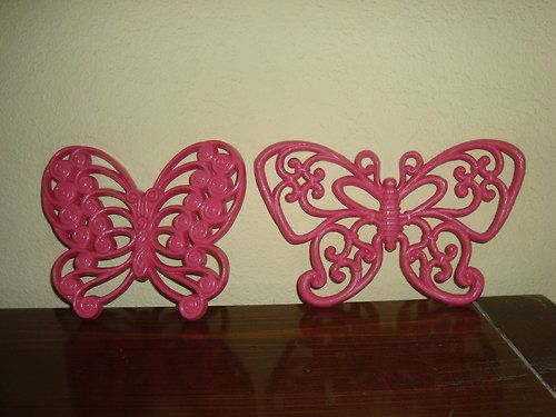 2 Hot Pink Burwood And Homco Butterflies - mushroommary