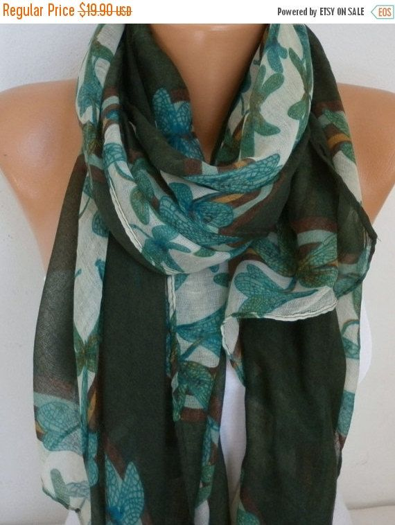 DRAGONFLY Printed Cotton Scarf Shawl Fall Cowl by fatwoman on Etsy