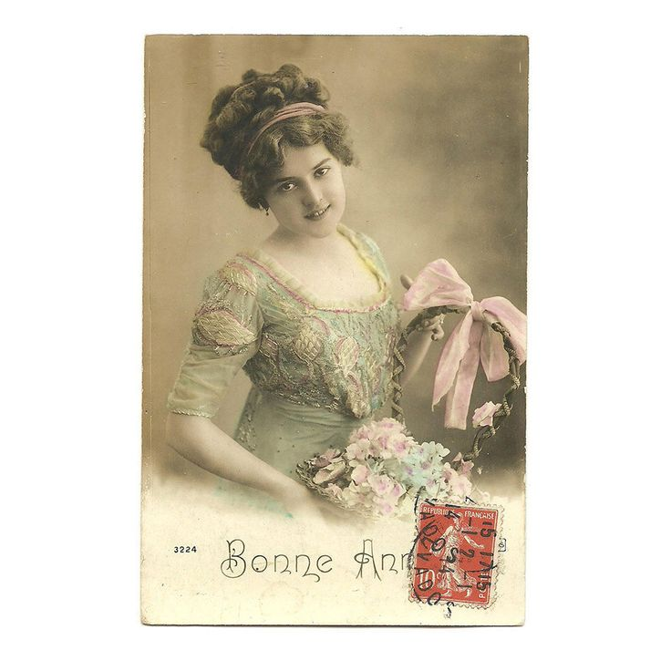 French Colorized Photo Postcard, Happy New Year, Rose Colorized Portrait of Woman with Flower