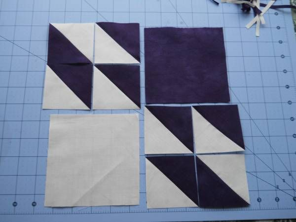Cascade Quilts: Hunter's Star tutorial. Use 4 Charm squares. Cut 2 squares into HSTs.