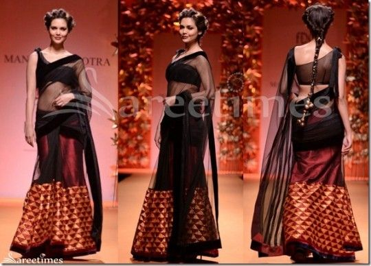 black and maroon lehanga saree