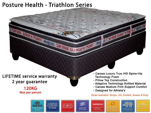 Posture Health Mattress + Base - MediSpine [Developed for atheletes] Excellent back & neck support - Pillowtop