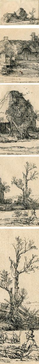 Рембрандт Харменс ван Рейн Постройки и ферма ,  офорт, 13 x 21 cm из коллекции Morgan Library and Museum #morganmuseum #rembradt