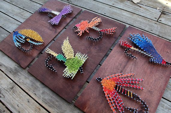 Fly Fishing String Arts Colorful Flies String por stringandnail0