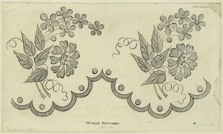 Muslin pattern, 1821. Repository of arts, literature, commerce, manufactures, fashions and politics. Ackermann