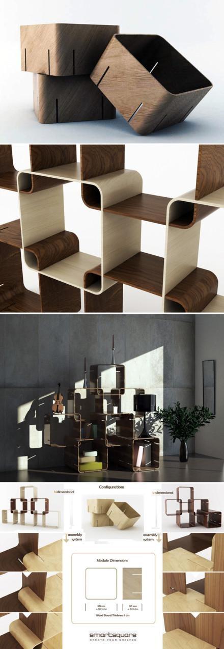 Pietro Russomanno设计的组合式置物架,名字叫做Smartsquare(聪明格子),用胶合板制作的小方格,可以通过卡口组合起来。