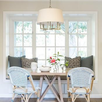 Banquette Window Seat Nook, Transitional, Dining Room, Amanda Teal Design