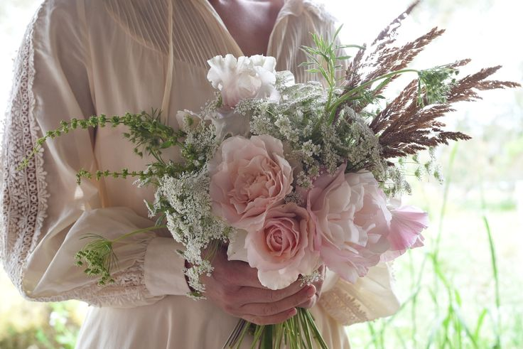 Roses, Grasses, blush, pink, Queen Anne's Lace, brown, bearded iris, October wedding, Bouquet