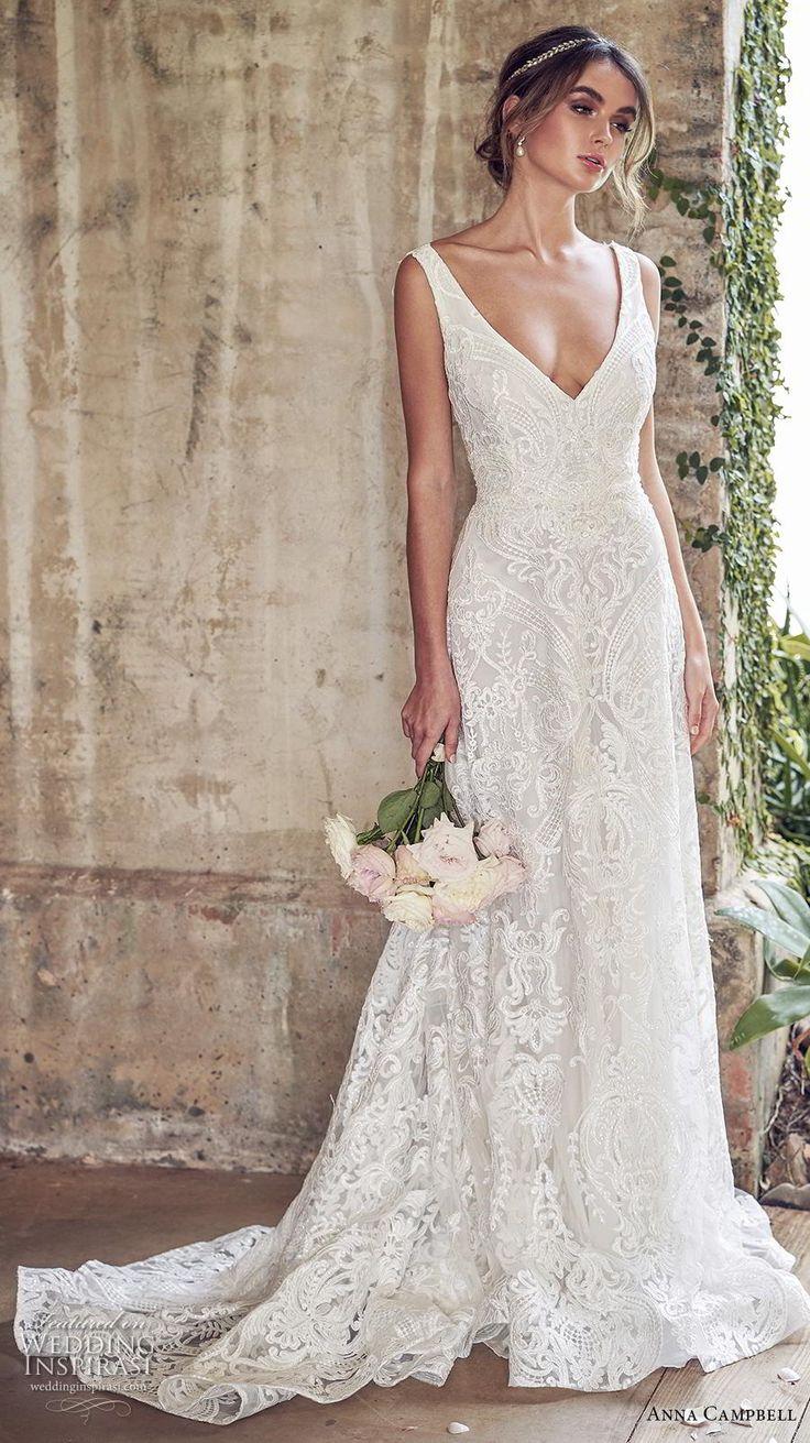 Anna Campbell 2019 Braut ärmelloses V Hals voller Verschönerung elegant romant…