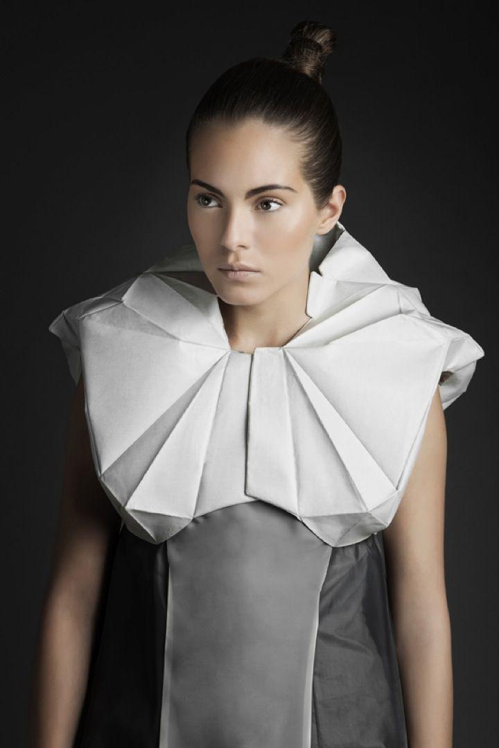 Origami Collar - sculptural fashion design -   folds, line, shape, texture, dimensional construction
