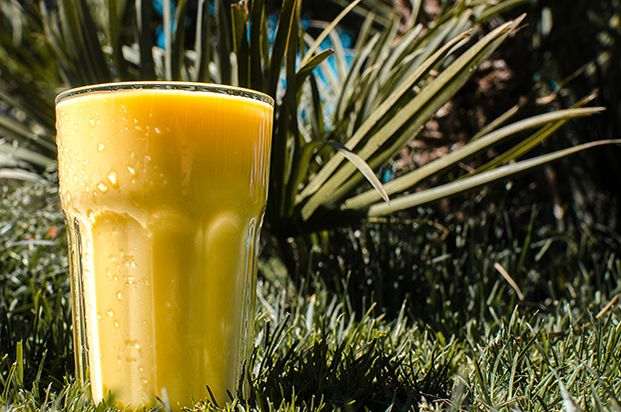 Mango Lassi, ready in five minutes, two ingredients, high in vitamin A and C, high in calcium | hurrythefoodup.com