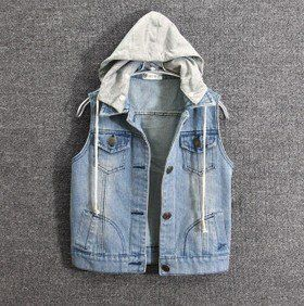Sewing idea jean vest with hoodie