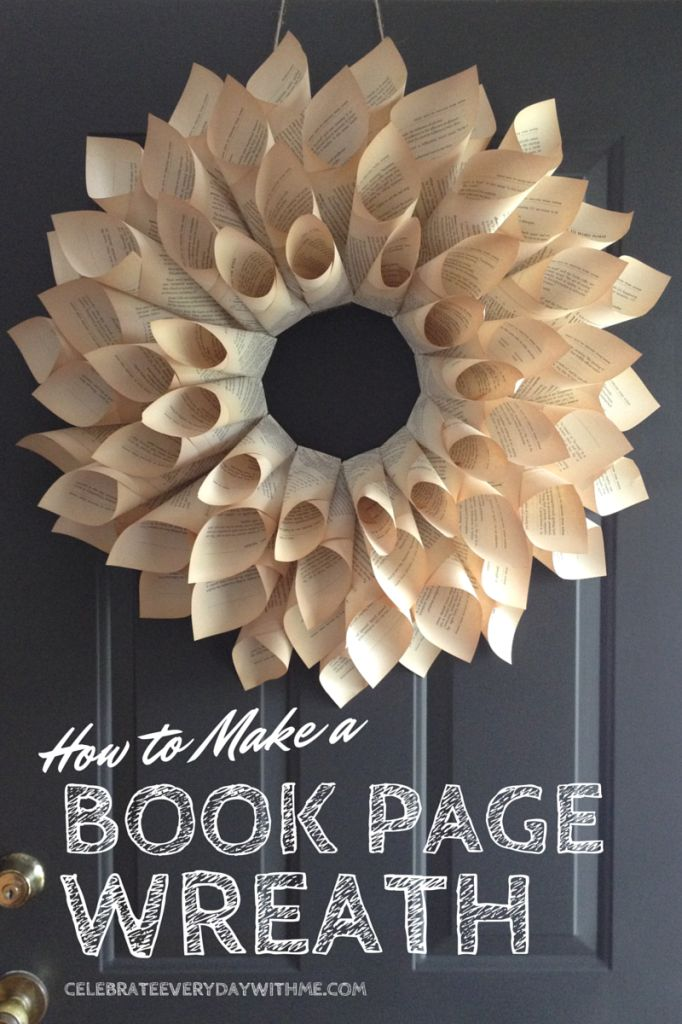 This past summer, my friend Melissa Deming of Hive Resources launched the paperback version of her book, Daughters of the King. It was super exciting and I was honored to help her with the book launch party. In developing the party theme of vintage books, burlap and lace, I made this book page wreath for her …