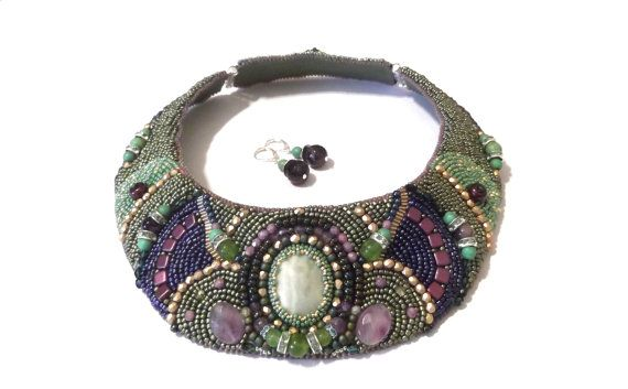 FREE SHIPPING bead embroidered necklace statement by GabileriaHM