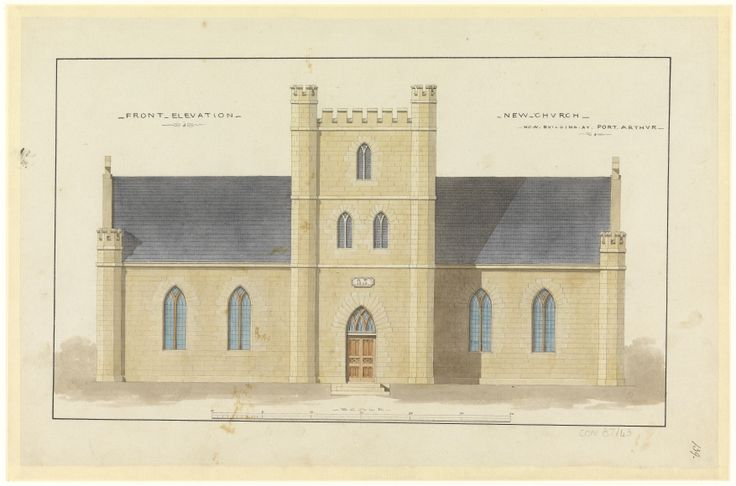 Henry Laing, 'Plan/Drawing No.139 - New Church - front elevation - now building at Port Arthur', circa 1836. Archives Office of Tasmania: http://catalogue.statelibrary.tas.gov.au/item/?q=church&series=Tasman's+Peninsula+-+Architectural+Drawings+of+Buildings+at+Penal+Settlements+on+Tasman's+Peninsula.+1836+(CON87)&i=2&id=CON87-1-43