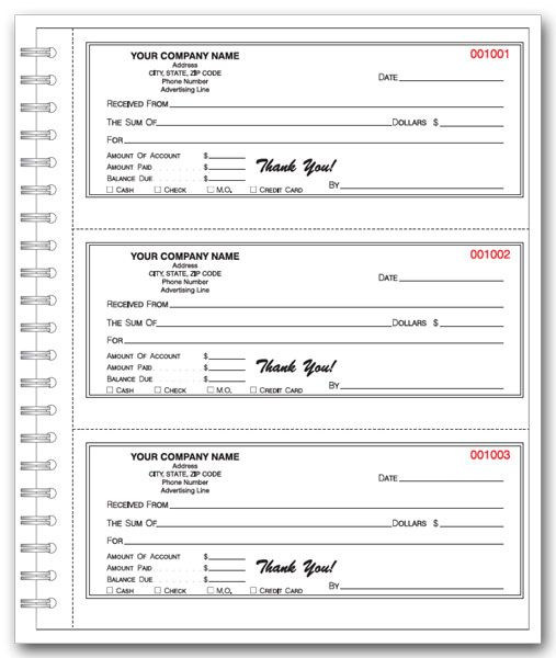 personalized cash receipt book