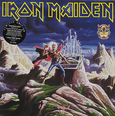 """For Sale -Iron Maiden Running Free / Run To The Hills UK  12"""" vinyl single (12 inch record / Maxi-single)- See this and 250,000 other rare and vintage records & CDs at http://eil.com/"""