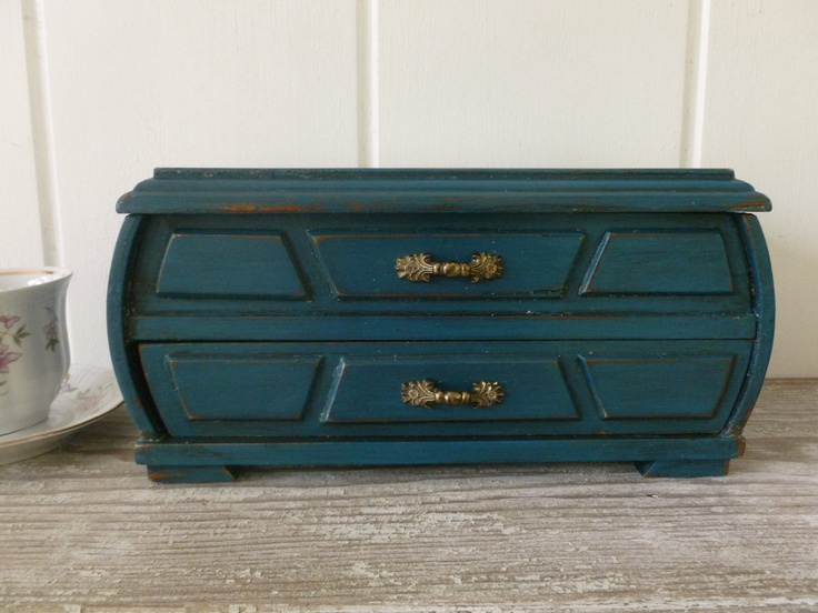 Jewelry Box Painted in Distressed Teal. $32.00, via Etsy.