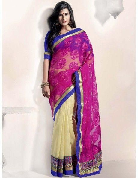 Chanderi & Jacquard Net Saree. http://www.bharatplaza.in/womens-wear/sarees/traditional-saree.html