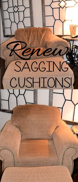 Perk up your furniture by renewing those saggy cushions! It's easy and inexpensive! Tutorial on site!