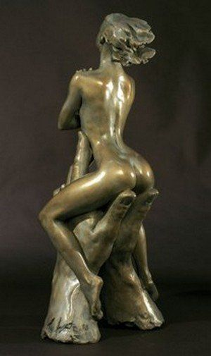 Erotic statue female figurine naked bronze