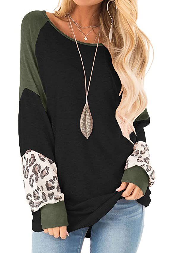 Women Plus Size Tunic Tops Print Round Neck Long Sleeved Long T-Shirt Blouse