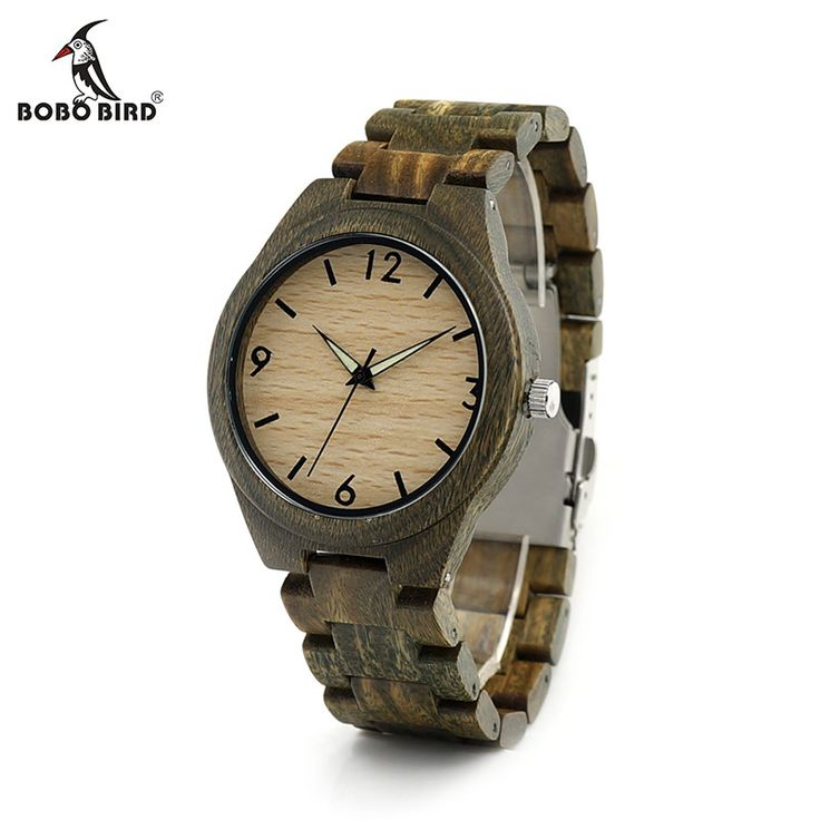 BOBO BIRD I18 Mens Wooden Watch Digital Dial Face Luminous Needle 20.4 cm Length Wood Band Classic Verawood Watches