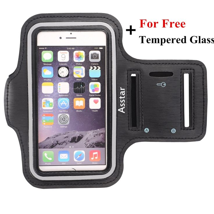 """Armband, Asstar [Stand Feature] Premium Running Water Resistant Sports Armband and Fits iPhone 6, 6S,SE, 5, 5S, 5C, Samsung S4, S3, S2, HTC ect with FREE Tempered Glass (Black). Double Adjustable Velcro Armband Will Fit Almost Any Arm Size Up To 16"""" Armband Will Fit Perfectly The Apple iPhone 6 (4.7""""), 5/5s/5c, Samsung S4, S3, S2, HTC, With phone Support For Screen Up To 5.2"""". Made of stretch resistant neoprene. Comfort-grip keeps the band firmly on your arm while jogging, running..."""