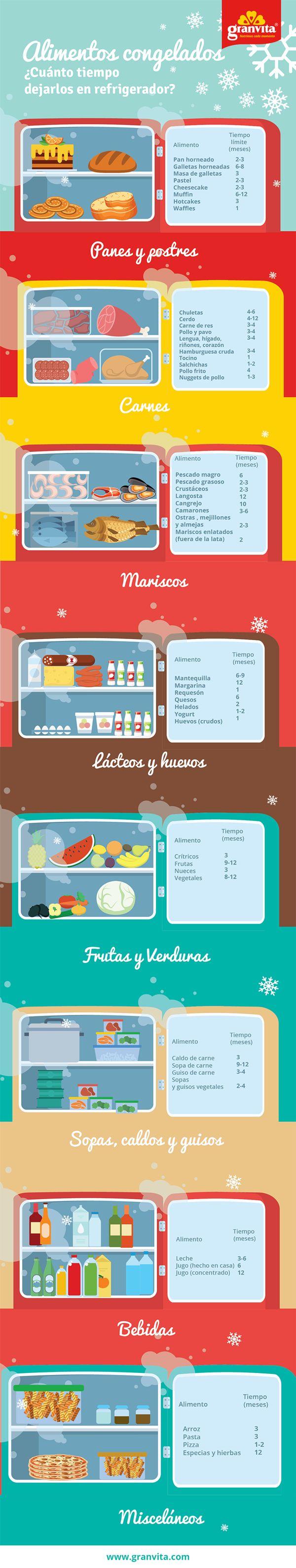 Descubre en esta infografía qué tiempo de vida deben tener tus alimentos en el congelador.