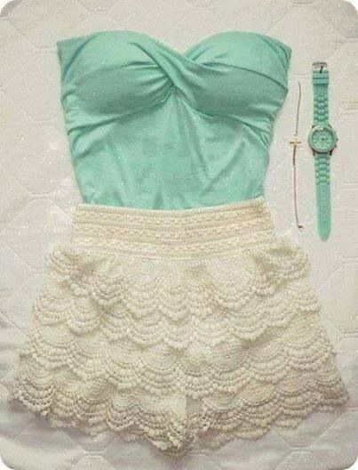 mint and lace. perfect spring break outfit
