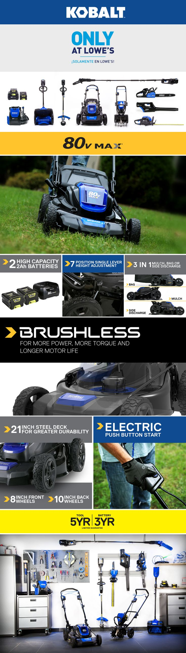 Shop Kobalt 80-Volt Max Brushless Lithium Ion 21-in Deck Width Cordless Electric Lawn Mower with Mulching Capability (Batteries Included) at Lowes.com