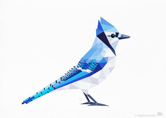 Bluejay print, Bluejay art, Geometric print, Bluejay illustration, American bird art, Bluebird,  Nursery wall art, Kitchen decor, Lounge art