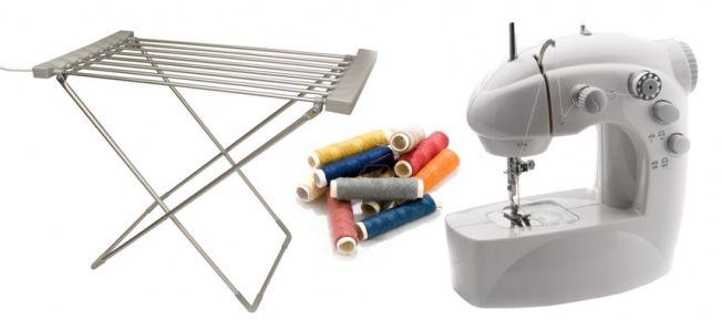 Tendedero eléctrico y máquina de coser en oferta
