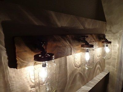 Primitive Mason Jar Rustic Bathroom Vanity Light Fixture Masons Rustic Bathrooms And Bathroom