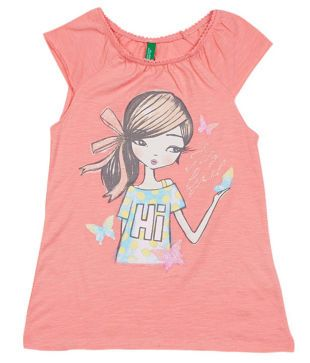 UCB Short Sleeve Peach Solid Top For Kids