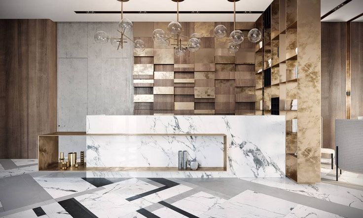 Inspiring modern lobby design with marble and wooden textures.