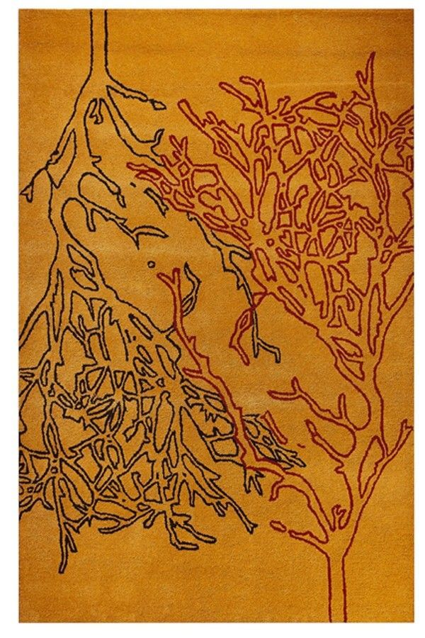 Branches Orange Area Rug
