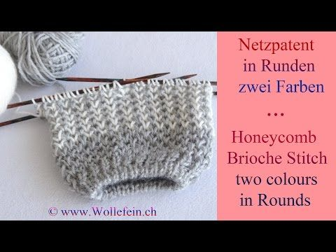Netzpatent in Runden zwei Farben - Honeycomb Brioche Stitch in Rounds two colours - YouTube