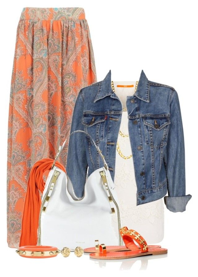 Floral Maxi w/Denim Jacket & Studded Accessories by brendariley-1 on Polyvore featuring polyvore, moda, style, BOSS Orange, Levi's, Tory Burch, Michael Kors, Dsquared2, Strenesse Blue, Kate Spade, fashion and clothing