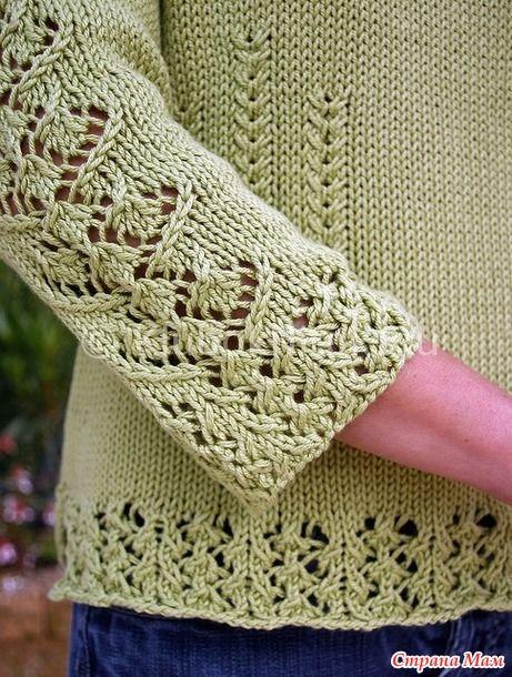 . Салатовый пуловер Sorelle