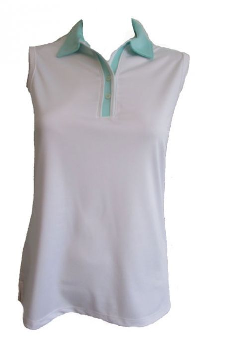 58b5b384ee53e Check out our CLEARANCE MIST (White Sea Ice) Bermuda Sands Ladies   Plus  Size Lucy Sleeveless Golf Shirt! Find stylish golf apparel at   lorisgolfshoppe ...