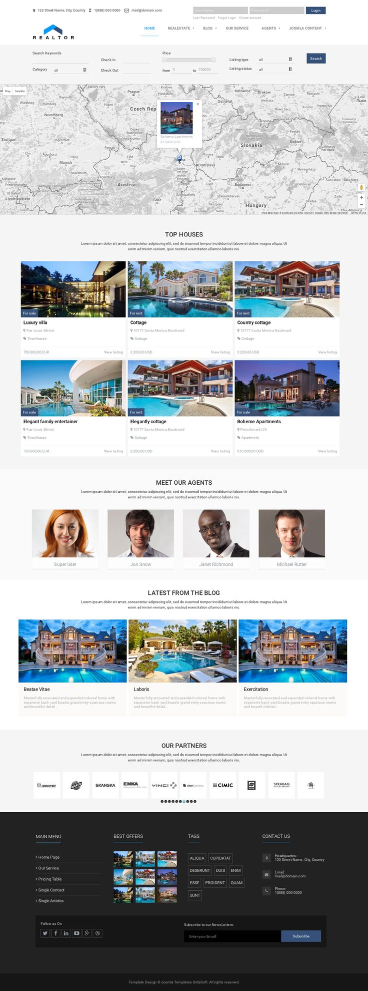 Meet the last word in template design and functionality - Realtor Joomla Template. Realtor is premium template tailored for home for sale, real estate websites. Joomla property template is 100% responsive, clean and stylish.