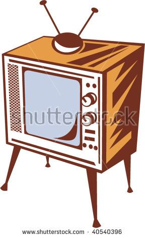 illustration of a retro styled television set  #television #woodcut #illustration