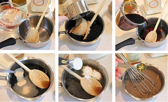 INGREDIENTS:    (The sauce can be kept in the refrigerator for one week.)    1 1/2 cups cold water  3/4 cup packed brown sugar  1/2 cup soy sauce (if you want to make this Gluten Free…make sure you get a GF soy sauce.)  1 teaspoon garlic powder (or granulated garlic)  3 Tablespoons corn starch  1 teaspoon sesame oil    Mix all 6 ingredients together in a saucepan and then put over medium heat on the stove.
